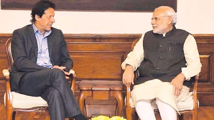 Pakistan Tehreek-e-Insaf (PTI) Chairman amd Prime Minister - designate Imran Khan during a Decmber 2015 meeting with Indian Prime Minister Narendra Modi in New Delhi.
