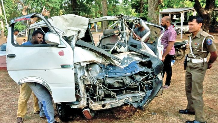 The van involved in the accident.  Picture by A. A. L. DIAS, Matale District Group Corr.