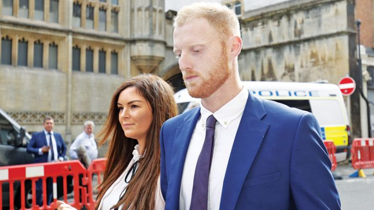 England cricketer Ben Stokes and his wife Clare arrive at Bristol Crown Court in Bristol, south-west England on August 14, 2018, during his trial on charges of affray. AFP