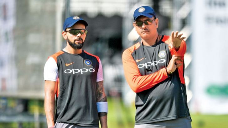 India's think-tank captain Virat Kohli and coach Ravi Shastri.