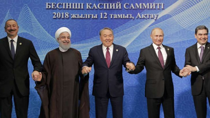 (From Left) Azerbaijani President Ilham Aliyev, Iranian President Hassan Rouhani, Kazakhstan President Nursultan Nazarbayev, Russian President Vladimir Putin, Turkmenistan President Gurbanguli Berdimuhammedov at the 5th summit of the leaders of Caspian Sea littoral states in Aktau, Kazakhstan on August 12, 2018.