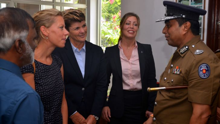 IGP Pujith Jayasundara in conversation with Acting Ambassador of the Netherlands to Sri Lanka Eva van Woersem and INTERPOL officials.