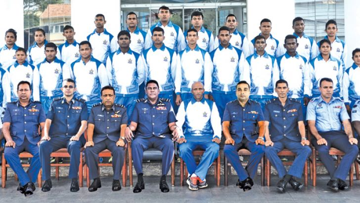 The Sri Lanka Air Force team with Commander of the Air Force Air Marshal Kapila Jayampathy and other officials prior to their departure to Asian Games.