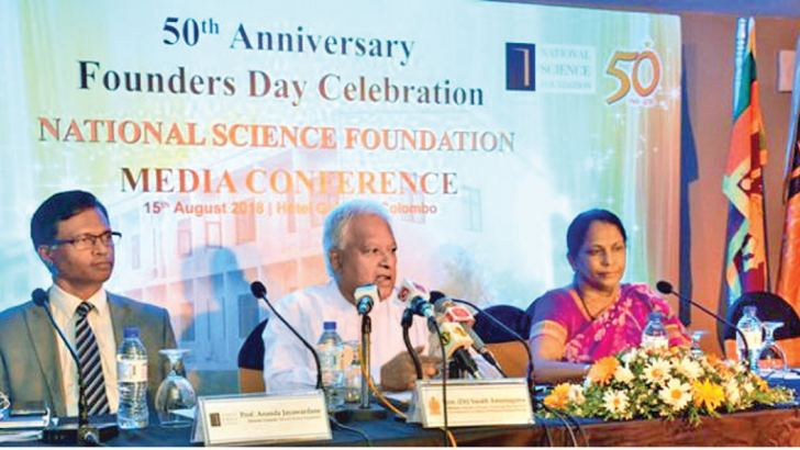 Director General of the NSF  Prof Ananda Jayawardane, Minister of Science, Technology, Research, Skills Development & Vocational Training and Kandyan Heritage Dr Sarath Amunugama and Chairperson of the NSF Prof Sirimali Fernando at the press to launch the 50th anniversary celebration. Picture by Saliya Rupasinghe