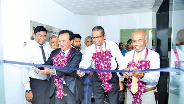 M. Ono of UBE Industries Ltd. Japan with Dr. Harsha Cabral PC, Chairman and S.R. Gnanam, Managing Director of Tokyo Cement Company (Lanka) PLC inaugurating the Construction Research Center.