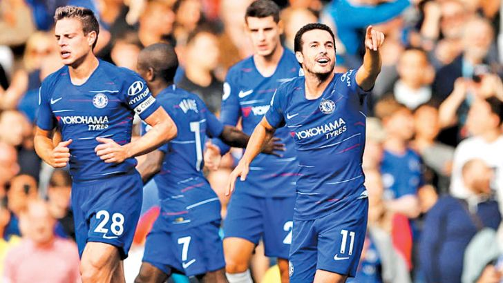 Chelsea's Pedro celebrates scoring their first goal Action Images via Reuters/John Sible