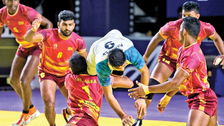 Sri Lanka men's team in action against India in the kabbadi event at the 18th Asian Games in Jakarta.  Sri Lanka lost 44-28.