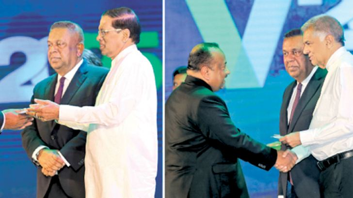 President Maithripala Sirisena and Prime Minister Ranil Wickremesinghe at the launch of Enterprise Sri Lanka.  Pictures by Rukmal Gamage.