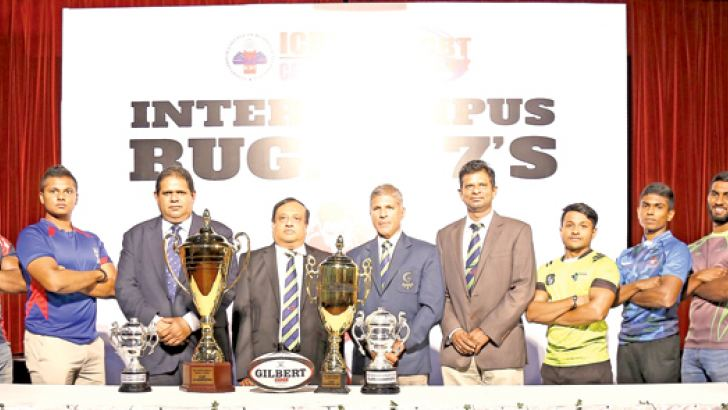 The captains of the participating teams along with Lasitha Gunaratne, president of Sri Lanka Rugby, Dr. Jagath Alwis, chairman of ICBT, Dilroy Fernando, Tournament Director and Dr. Sampath Kannangara, CEO and Dean of ICBT pose for a picture with the trophies to be presented to the winners of the Inaugural ICBT inter-campus rugby sevens tournament.