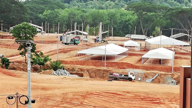 The stalls being erected by the Army and others in the exhibition site in Moneragala.  Picture by Thennakoon Bandara, Moneragala Daily News Corr.