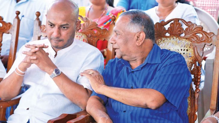 Minister Duminda Dissanayake and Anuradhapura West SLFP Organiser W.B. Ekanayake at the event. Picture by Nimal Wijesinghe, Anuradhapura Additional Group Corr.