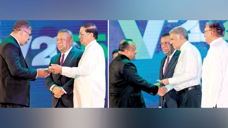 President Maithripala Sirisena and Prime Minister Ranil Wickremesinghe at the launch of Enterprise Sri Lanka in June  (File Photo -by Rukmal Gamage)
