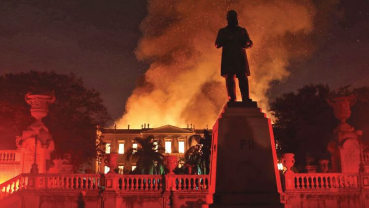 Firefighters try to extinguish a fire at the National Museum of Brazil in Rio de Janeiro on Sunday.