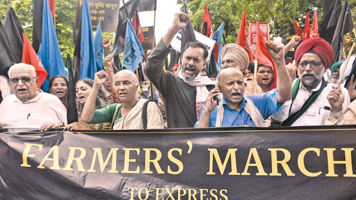 A farmers' protest march in  New Delhi, India, July 20, 2018.
