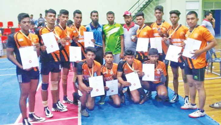 Players of the Silver medal winning Al-Ashraq National School Kabadi team with officials