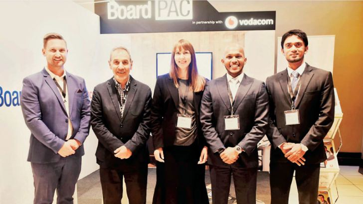 BoardPAC representatives at the recent 10th Premier Corporate Governance Conference 2018 held in South Africa, organised by the Chartered Secretaries South Africa (CSSA). Pictured L to R: Philip Boshoff, Business Manager, South Africa, Stephen Sadie - CEO, CSSA, Deborah Duncan, Marketing & Membership Manager, CSSA, Tharindu Wickramasekera, Head of Delivery and Sarath Perera, Marketing Manager