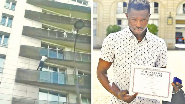 Mamoudou Gassama displays a certificate of courage and dedication. (Left) Scaling an apartment building to save a four-year-old child dangling from a fifth-floor.