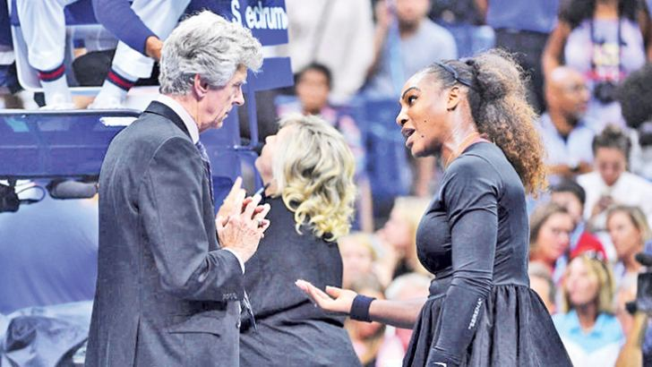 Serena Williams in a verbal dual with umpire Carlos Ramos during the US Open tennis championships.