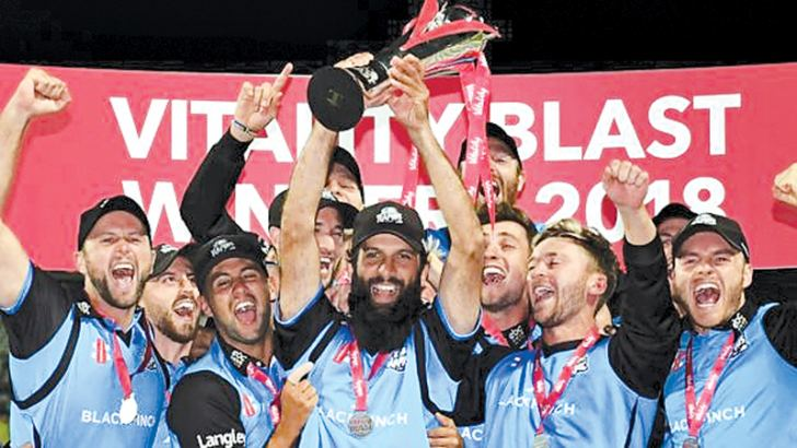Worcestershire celebrate their win over Sussex in the Twenty20 Blast final at Edgbaston on Saturday.