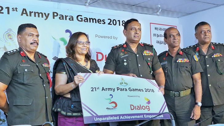 Chief Marketing Officer of Dialog Axiata Group Amali Nanayakkara (2nd from left) handing over the sponsorship cheque to the Chairman of Army Para Sports Committee Chief of Staff Major General Dampath Fernando (3rd from left). From left Secretary of Army Para Sports Committee Colonel MAR Gunasekara, Vice Chairman of Army Para Sports Committee Major General HR Wickramasingha and Director, Military Spokesman Brigadier MSB Sumith Atapattu  also in the picture. Picture by Saman Sri Wedage