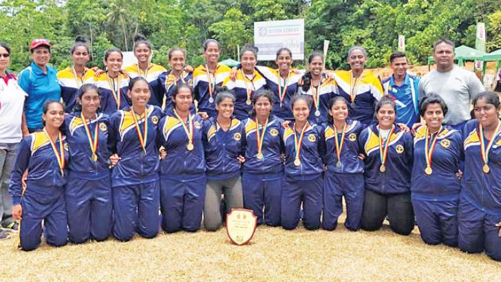Champion Visakha Vidyalaya team with officials