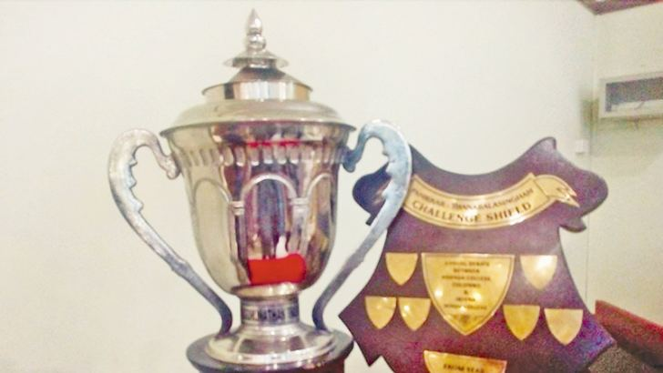 The Sivagurunathan Trophy and Panikkar-Thanabalasingham Shield displayed at a press briefing held at Ananda College Centenary Building.