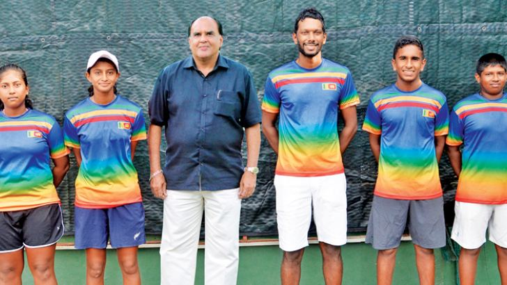 Sri Lankan junior tennis teams for ITF Asia 14 & under Closed Championship 2018 in Thailand with SLTA president Bin Issack and coach