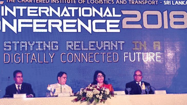 At the CILT International Conference in Colombo, from left - CILT Conference Chairman Ajith Ekanayake,  Minister of Transportation and Civil Aviation, Nimal Siripala De Silva, CILT Sri Lanka Chairperson Gayani De Alwis and CEO, SAGT, Romesh David.