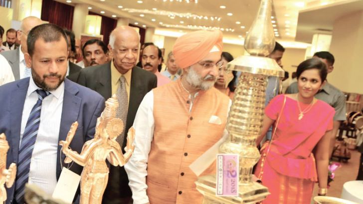 High Commissioner of India to Sri Lanka Taranjit Singh Sandhu launch Shilpa Abhimani 2018 on September 12 joined by Minister of Industry and Commerce Rishad Bathiudeen and Chairperson of NCC Heshani Bogollagama.