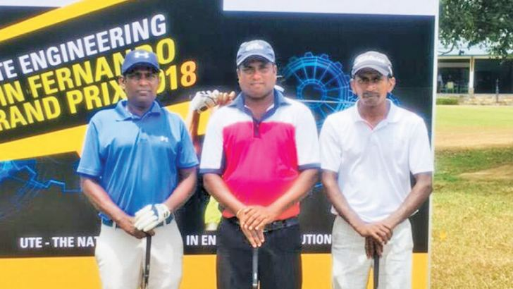 Top three golfers at half way mark. From left: N.Amarapadma, J.M.D.Indika and B.A.Sanjeewa