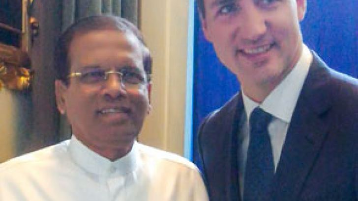 President Maithripala Sirisena who is in  New York to participate in the  73rd session of the United Nations General Assembly  yesterday  met  Canadian Prime Minister Justin Trudeau. Picture by Sudath Silva