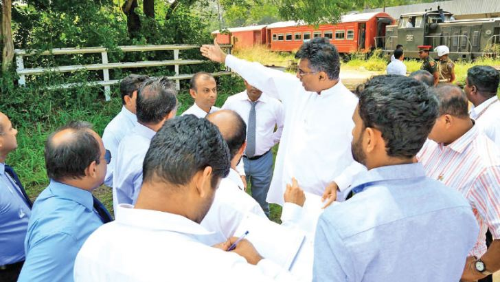 Megapolis and Western Development Minister Patali Champika Ranawaka during a recent inspection  tour of the Anuradhapura district.