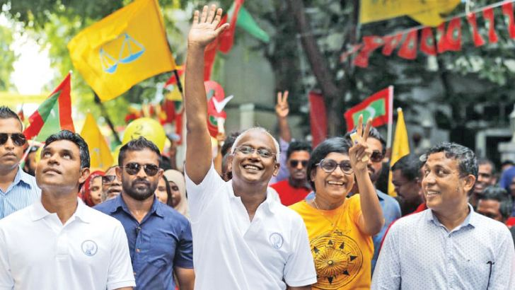 Maldivian Presidential election winner (C) Ibrahim Mohamed Solih with his supporters.