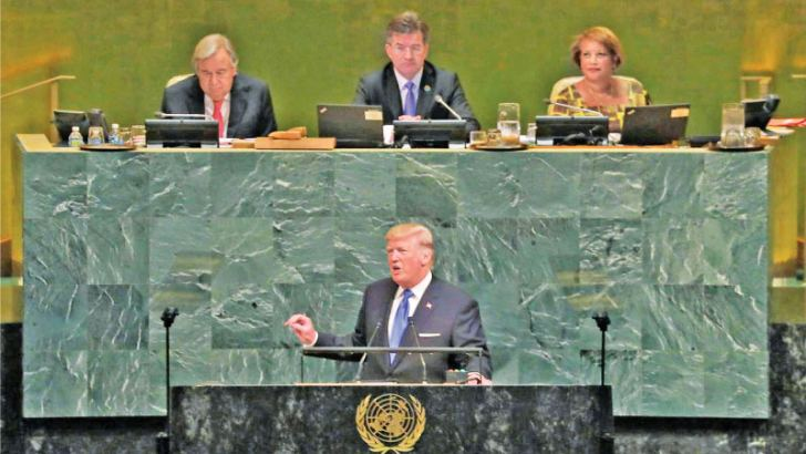 US President Donald Trump, addressing the United Nations General Assembly on Tuesday. - AFP