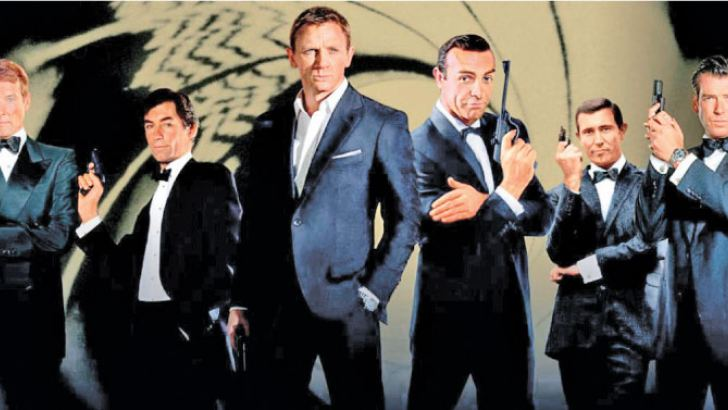 The six James Bond's so far: Sean Connery, Roger Moore, George Lazenby, Timothy Dalton, Pierce Brosnan and Daniel Craig.