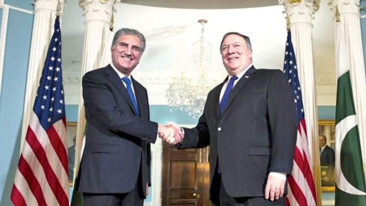 US Secretary of State Mike Pompeo, (R), meets Pakistani Foreign Minister Makhdoom Shah Mahmood Qureshi at the State Department in Washington on Tuesday.