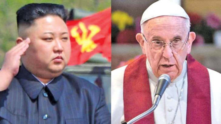 North Korean leader Kim Jong un and Pope Francis