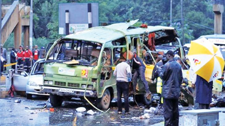 The scene of the bus crash.