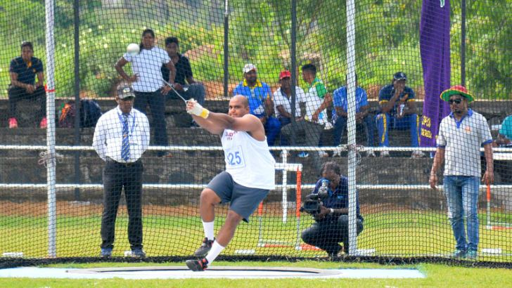 Charith Kapukotuwa who set up a new meet record in the hammer throw event