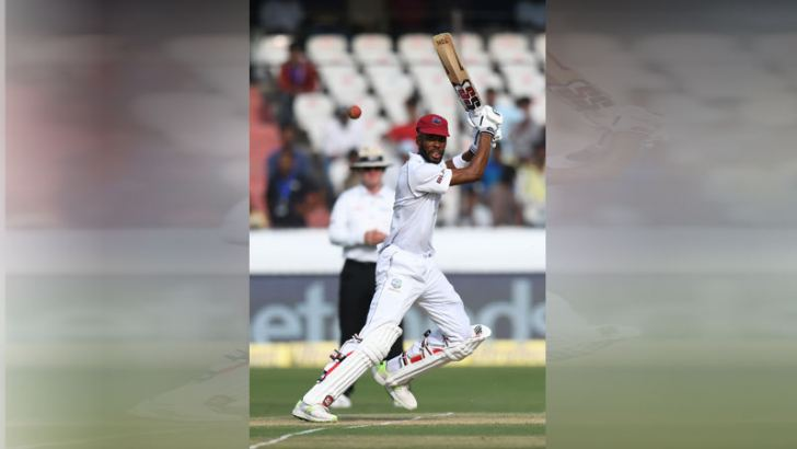 West Indies cricketer Roston Chase plays a shot during the first day's play of the second Test cricket match against India at the Rajiv Gandhi International Cricket Stadium in Hyderabad on October 12. AFP