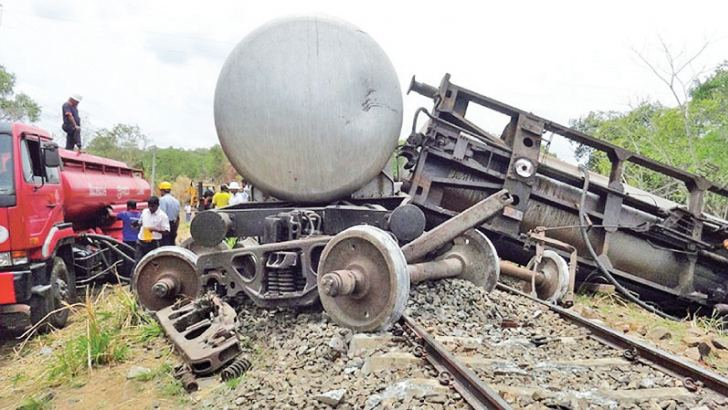 The derailed Batticaloa fuel train which mowed down three jumbos on September 18. Picture by Sigiriya Spl. Corr.