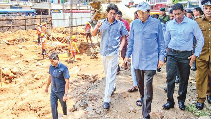 President Maithripala Sirisena inspects the construction site of the indigenous technology museum in Polonnaruwa.