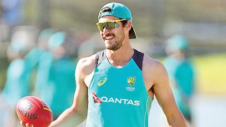 Mitchell Starc at practice in the UAE.