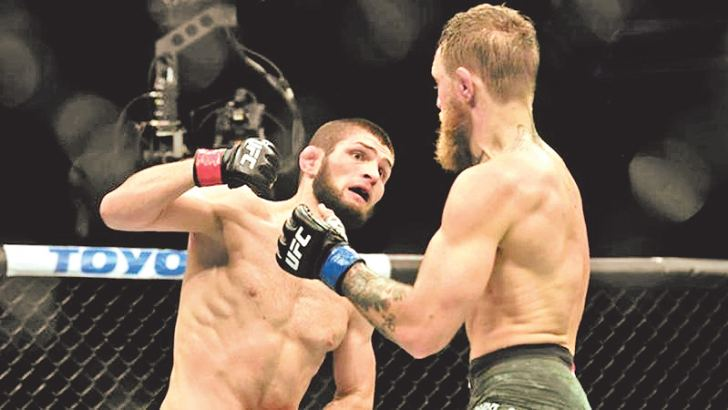 Khabib Nurmagomedov beat Conor McGregor at UFC 229. Picture courtesy of BBC