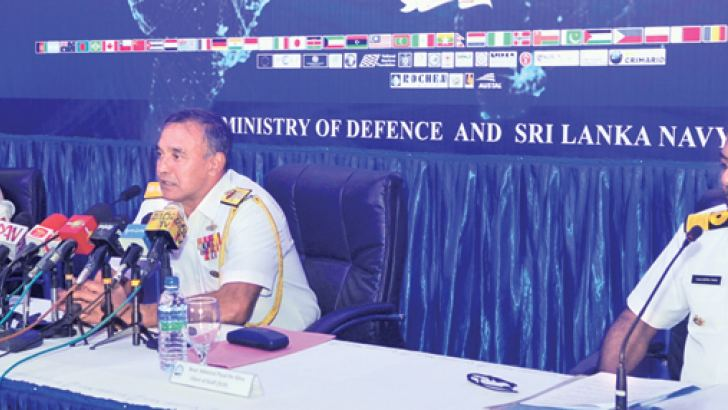 SLN Chief of Staff Rear Admiral Piyal De Silva speaks at the media conference yesterday, flanked by SLN General Operations Director Rear Admiral Niraja Attygalle and Navy Operations Director Commodore Sanjeewa Dias. Picture by Wasitha Patabendige