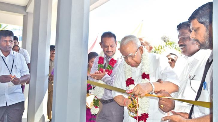 JO Leader R. Sampanthan opening the market complex. Picture by Sivam Packiyanathan, Batticaloa Special Corr.
