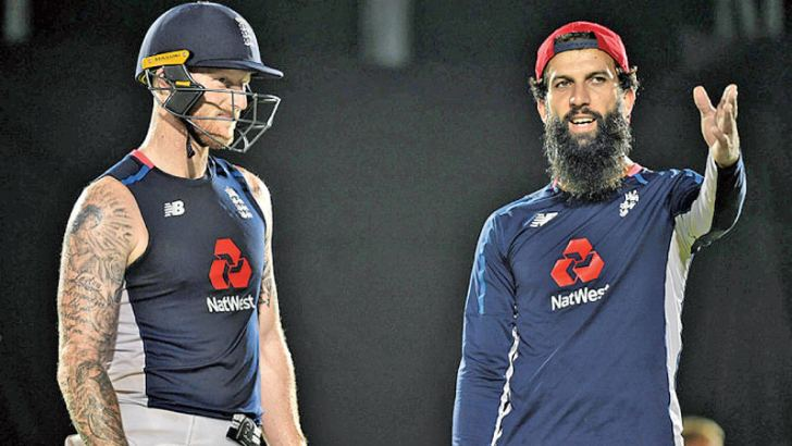 Moeen Ali (right) and Ben Stokes during practice at the Pallekele International Stadium yesterday ahead of the third ODI against Sri Lanka.
