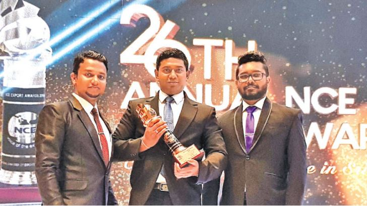 Senior Management receives the NCE Award, Ruwan Lahiru Danthanarayana, New Product Development & Research Manager,  Rasan Sujith Priyadarshana, Group Accountant and Ashan Kannangara, Quality Assurance Manager with the NCE Award