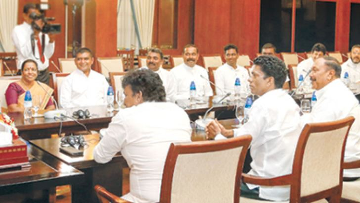 President Maithripala Sirisena yesterday met the Tamil Progressive Alliance leaders at the Presidential Secretariat yesterday. The discussion focussed on the salary issue of estate workers and development activities in the plantation sector.  Picture by Udesh Gunaratne