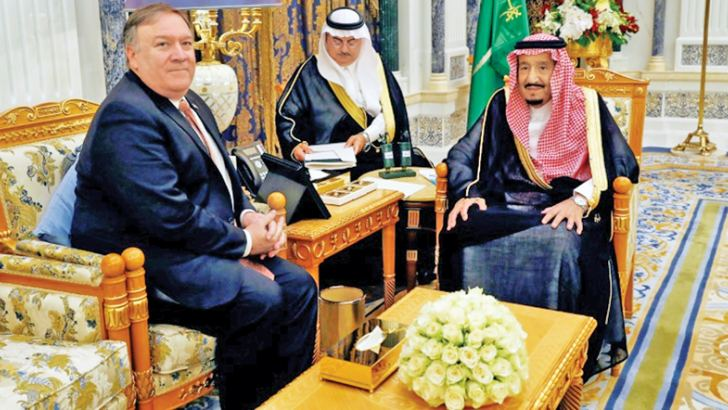 US Secretary of State Mike Pompeo meets Saudi King Salman (R) in Riyadh on Tuesday. - AFP